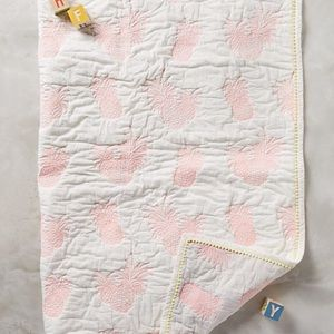 NWT Anthropologie Pineapple Toddler Quilt and Sham